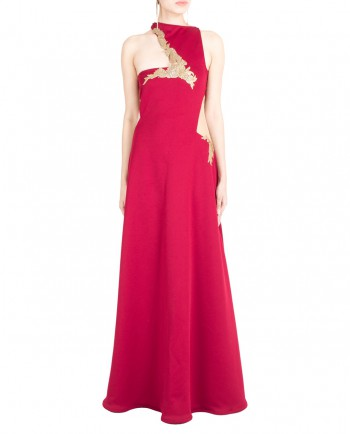 Deep-Red-Gown-With-Crystal-Neck-01
